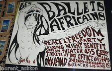 BALLET AFRICAINS HAIGHT ASHBURY PSYCHEDELIC POSTER 1968 PEACE AND FREEDOM PARTY
