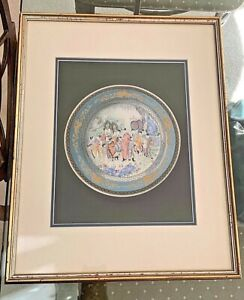 Antique Chinese Fine~Hand Watercolor~Gilded~EMPEROR PAINTING~Famille Rose Plate