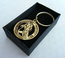 St Christopher Keyring Round Key Fob diameter 38mm Metal Gift Boxed BRAND NEW