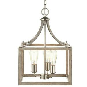 NEW HOME DECORATORS Boswell Quarter 14 in. 3-Light Brushed Nickel Chandelier wit