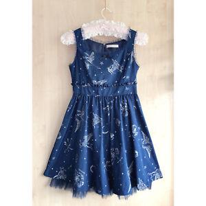 ANK ROUGE Navy Blue Zodiac OP Sleeveless Dress XS Constellation Horoscope Gyaru