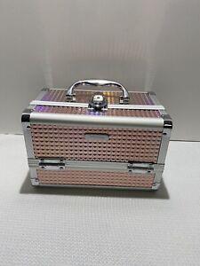 Makeup Box Cosmetic Train Case Lockable W Keys & Mirror 2 Tier