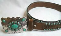 Nocona Men's Tan and Turquoise Inlay Floral Western Belt N3472044-M Size Medium