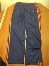 Adidas Mens M Sweat Pants Wind White Stripes Soccer Track Lined Blue Polyester