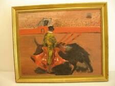 MATADOR Original oil board painting framed Bullfighter Bull Fighter Vtg signed