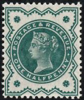 1887 JUBILEE SG213 1/2d VERY DEEP BLUE GREEN U/M VARIETY HENDON CERT
