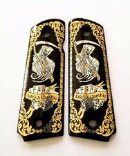 1911 custom engraved wood grips gold silver reaper skull cards dice Scroll black