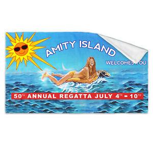 Huge Jaws Amity Island Bath Towel Vintage Retro Horror Shark Film 70s 80s Poster