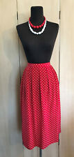Womens Retro Red and White Polka Dot SILK Pleated Aline Secretary SKIRT Size 14