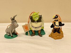 LOT OF 3 Carls Jr. Kids Meal Shrek Christmas Ornaments / Figures 2004