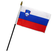 "Wholesale Lot of 12 Slovenia 4""x6"" Desk Table Stick Flag"