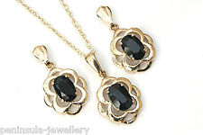 9ct Gold Sapphire Pendant and Earring Set Gift Boxed Made in UK