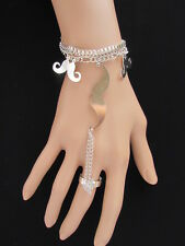 NEW WOMEN SILVER METAL FASHION HAND CHAIN BRACELET SLAVE RING CHARMS MUSTACHES