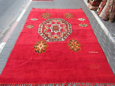 ORIGINAL ANTIQUE MOROCCAN WOOL CARPET RUG HAND WOVEN 306x200-cm/120.4x78.7-inche
