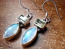 Faceted Lemon Topaz Baguette Moonstone Marquise Earrings 925 Sterling Silver New