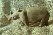 """Carved Wood Rhinoceros in Light Brown Wood 5 1/2"""""""