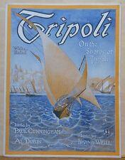 Tripoli - 1920 sheet music  - Waltz Ballad - cover art of sailboat by Tripoli