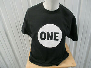 VINTAGE MURINA One Campaign LOGO LARGE BLACK T-SHIRT 00s END POVERTY HUNGER NWOT
