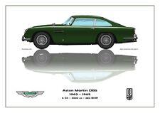 Print on Canvas Aston Martin DB5 1963 - 1965 Green / White Version  40 x 30