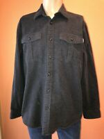 Eddie Bauer Chamois Flannel Shirt Charcoal Gray Long Sleeve Medium M Super Soft
