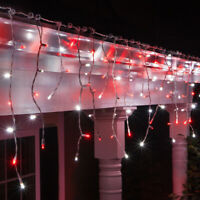 70 Light LED Christmas Icicle Lights Set, White Wire, 7ft. Indoor-Outdoor