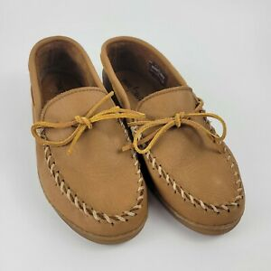 Minnetonka Mens Casey Tan Suede Moccasin Slippers Shoes 10.5 Medium (D) 890
