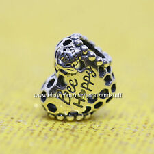 Bee Happy Honeycomb Heart Authentic Pandora Sterling Silver Charm 798769C00