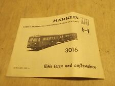 Märklin H0 3016 solo Istruzioni per Railbus Aus 12/69 in Buone Condizioni