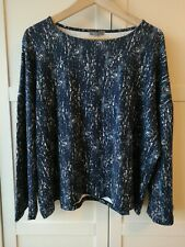 Jaeger Blue White Patterned Oversized Long Sleeve Top - Size Large - Lagenlook