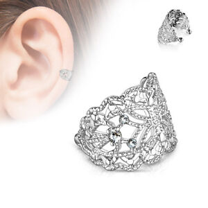 Filigree Butterfly with Flush Prong Set CZ Accented Non-Piercing Ear Cuff