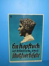"""50er60er Werbeschild """"Ein Kopftuch ist kleidsam und schützt vor Gefahr"""" Schükerk"""