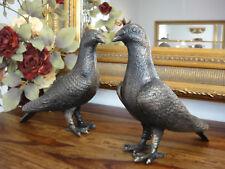 2 Deko Figuren Tauben Eisen bronziert Figur Skulptur Vogel Paar Set Taube Antik