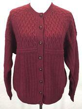 #UB Vtg Robert Scott Ltd Sz M 100% Wool Chunky Maroon Red Cardigan Sweater