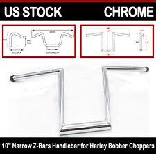 """Chrome 10"""" Ape Hangers Z-Bars Handle bar For Harley Dyna Softail Bobber Chopper"""