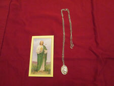 St. Jude Medal with 24 Inch Silver tone Necklace and Prayer- Holy Card