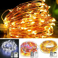 10M Waterproof 100LED Copper Wire String Fairy Lights Xmas Party Remote Control