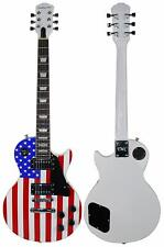 New Stedman Pro 6 String Electric Guitar Lp Red White Blue Us Flag with Gig Bag