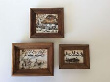 Cute!!! Set Of 3 Handpainted Wood Decorative Frames-Snow Cabins Trees Nature