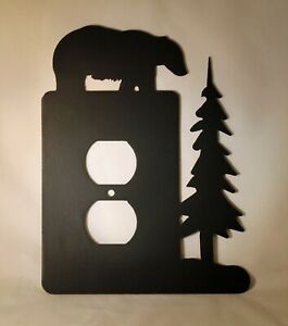 BEAR an Tree Single Wall Plug Plate Outlet Cover Wildlife Cabin Lodge Metal Art