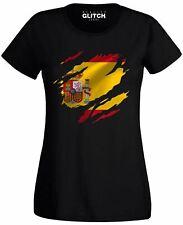Torn Spain Flag Women's T-Shirt Spanish Madrid Country national football