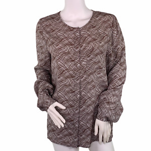 Boden Gwyneth Brown Cream Abstract Plaid Career Button Up Blouse Top Size 6 EUC
