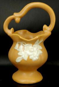 Vintage Weller Pottery Art Deco Floral Basket Vase Planter s-1C