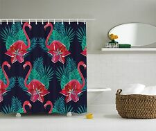 Pink Green Blue Flamingo Tropical Fabric Shower Curtain Digital Art Bathroom