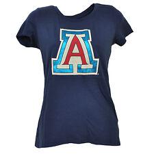 Large,Navy NCAA Arizona Wildcats Adult Women NCAA Pattern Lines Ladies Favorite Short sleeve T-Shirt