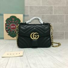 GUCCI Hibiscus Black Small Bag Leather Top Handle GG Handbag Marmont Matelasse
