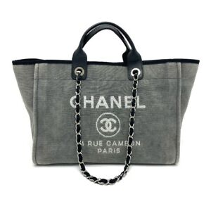 CHANEL A66941 2WAY Deauville Large Chain Tote Bag Shoulder Bag Gray