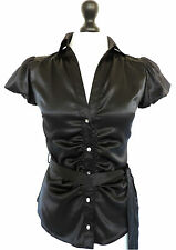 RIVER ISLAND • BLACK SATIN BLOUSE TOP PUFF SLEEVES SEXY GOTHIC VICTORIANA VAMP 8