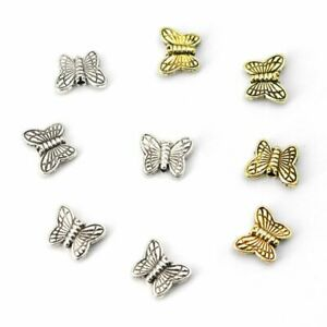 50pcs Tibetan Butterfly Spacer Charms 10.5x8.5 Metal Loose Charm Beads Jewelry M