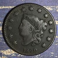 1829 Coronet Head Copper Large Cent Collector Coin, Free Shipping