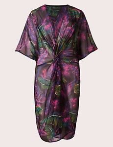 MARKS & SPENCER MULTI COLOUR KNOT FRONT KAFTAN BEACH COVER UP / DRESS S, M, XL